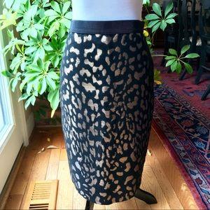 ANN TAYLOR Metallic Jacquard Pencil Skirt